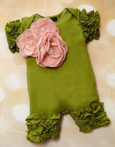 Green Ruffle Romper with Chiffon Pink Flowers