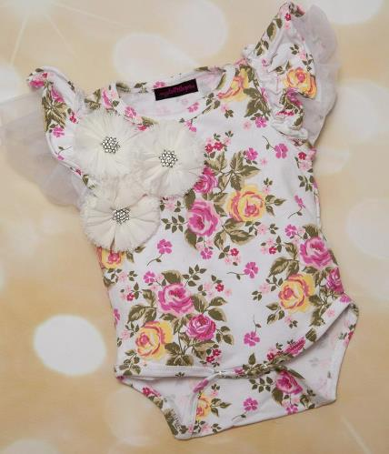 Floral Ruffle Tulle Sleeve Bodysuit Romper with Flower Accents