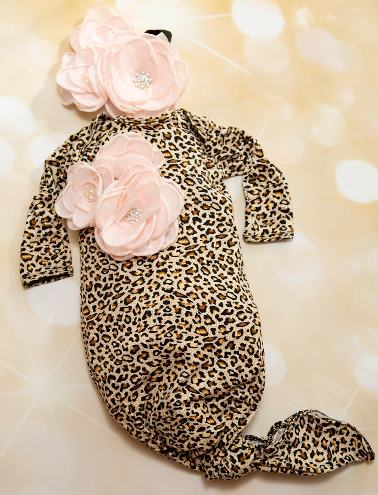 Infant Leopard Flower Layette Tie Gown with Matching Headband