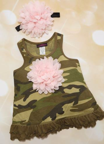 Camo Sleeveless Summer Flower Dress with Matching Headband