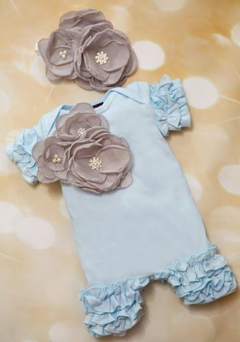 Baby Blue and Gray Ruffle Romper with Matching Flower Headband