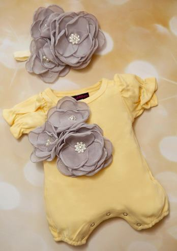 Yellow and Gray Bubble Romper with Matching Flower Headband