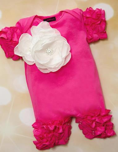 Hot Pink Ruffle Romper with White Flowers