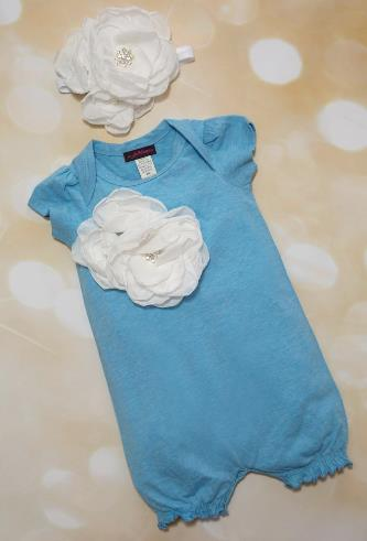 Blue Romper with White Flowers and Matching Headband