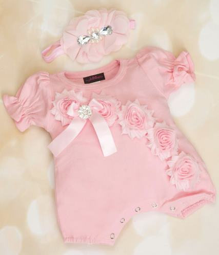 Pink Bubble Romper with Shabby Chiffon Flowers & Matching Headband