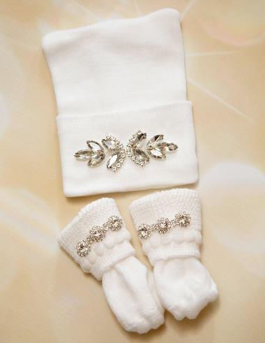 Newborn Rhinestone Hat and Socks Set
