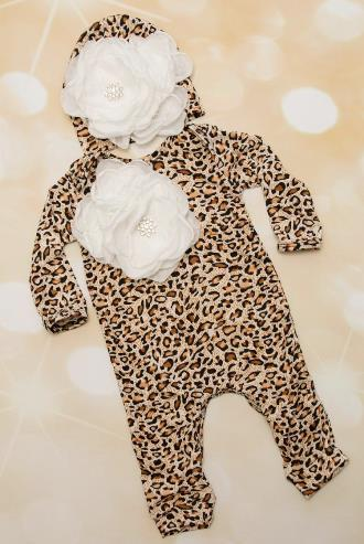Leopard Print White Flower Romper with Matching Hat Outfit Set