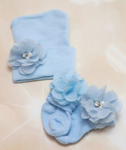 Baby Blue Newborn Flower Hat and Socks Set
