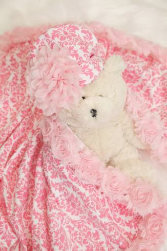 Pink Damask Baby Blanket and Matching Flower Hat