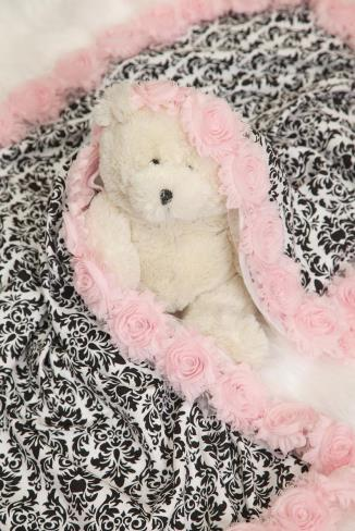 Baby Girl Black & Pink Damask Receiving Blanket