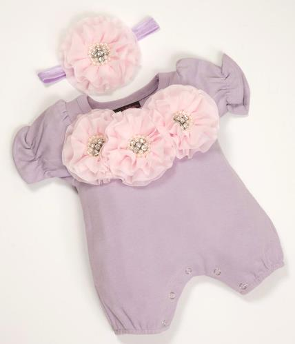 Lavender & Pink Bubble Flower Romper with Matching Headband