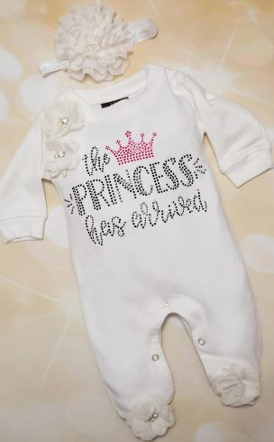 The Princess Has Arrived Bling Romper and Matching Headband