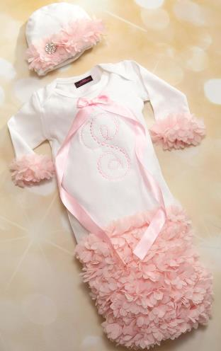 Personalized Chiffon Petal Newborn Coming Home Gown with Matching Hat