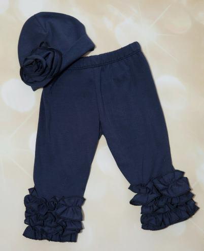 Navy Ruffle Pants and Matching Hat