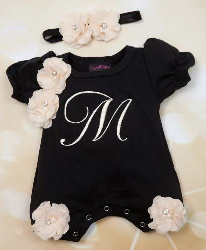 Black & Off White Personalized Bubble Romper with Matching Headband