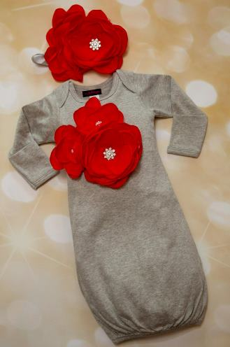 Gray & Red Newborn Gown with Matching Headband