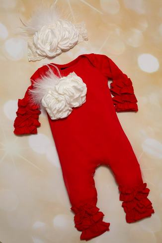 Red & White Ruffle Romper with Matching Headband