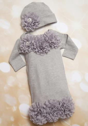 Infant Baby Layette Grey Cotton Baby Gown with Grey Chiffon Flowers and Rhinestones