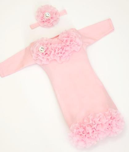 Infant Layette Pink Baby Gown with Shabby Chiffon Flowers & Rhinestones