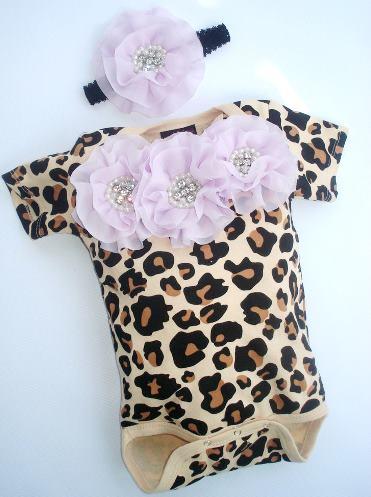 Baby Girl Leopard Print Chiffon Flower Onesie & Headband Outfit Set