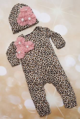 Leopard Print Mauve Flower Romper with Matching Hat Outfit Set