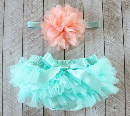 Mint Tutu Diaper Cover with Matching Peach Headband