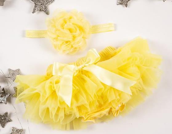 Yellow Tutu Diaper Cover with Matching Headband