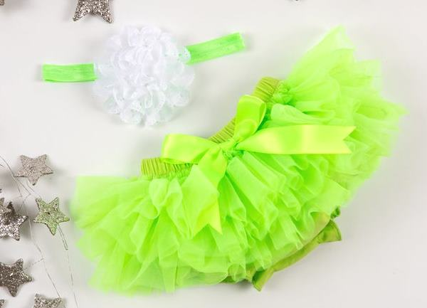 Lime Green Tutu Diaper Cover with White Matching Headband
