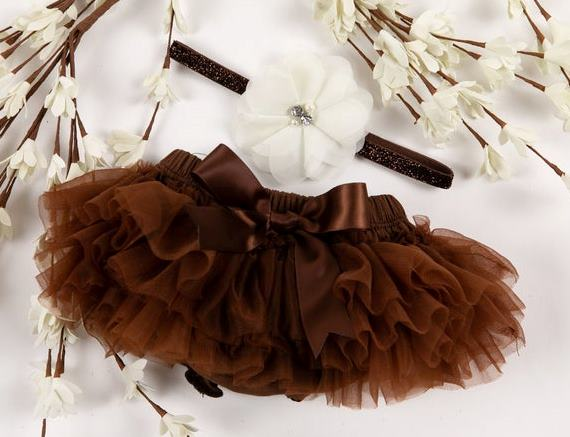 Brown Tutu Diaper Cover with Matching Ivory Glitter Headband