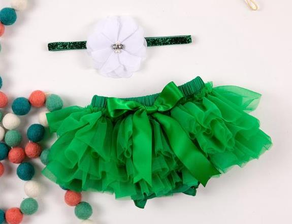 Green Tutu Diaper Cover with Matching Headband