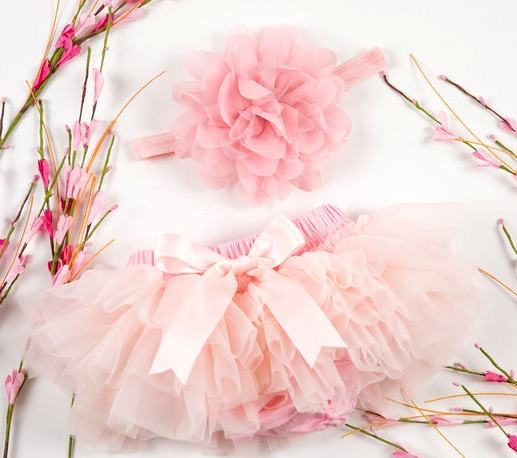 Pink Tutu Diaper Cover with Matching Headband
