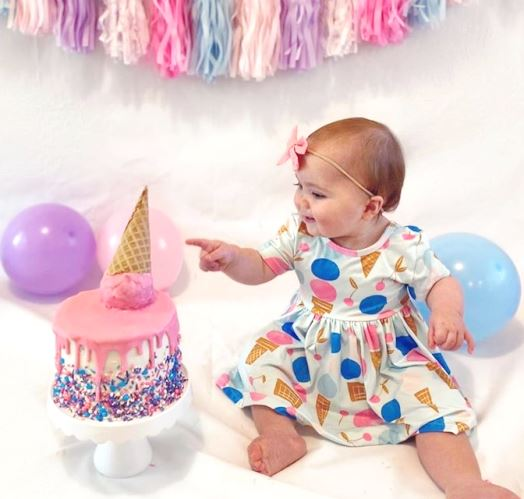 Ice Cream Short Sleeve Twirl Dress