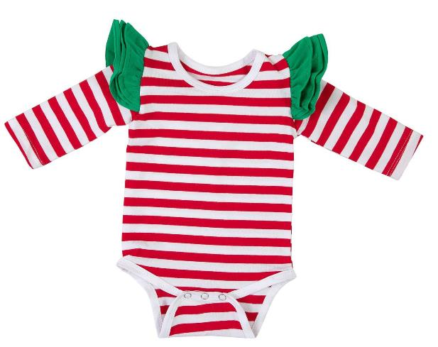 Red & White Striped Christmas Flutter Sleeve Bodysuit