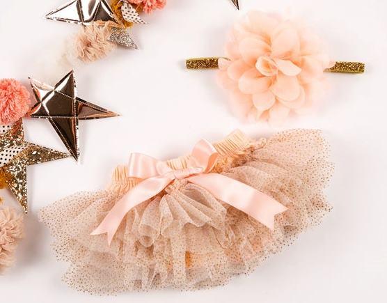 Peach & Gold Glitter Tutu Diaper Cover with Matching Headband