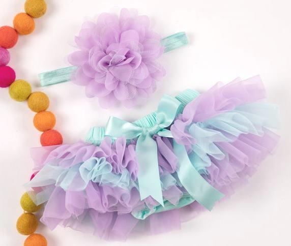 Lavender & Aqua Tutu Diaper Cover with Matching Headband