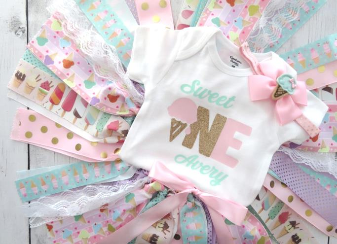 Sweet One Personalized 1st Birthday Ice Cream Tutu Outfit