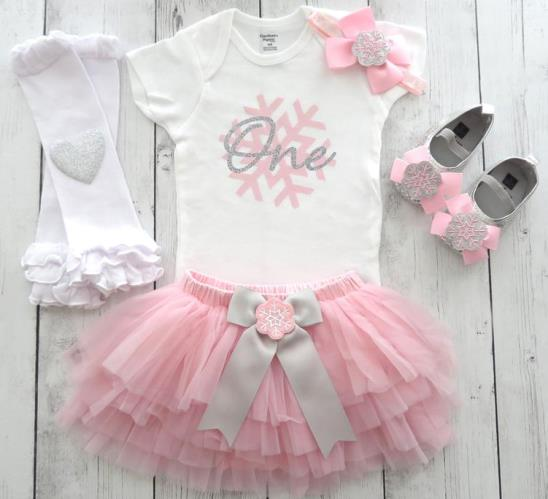 Pink & Silver Snowflake First Birthday Outfit