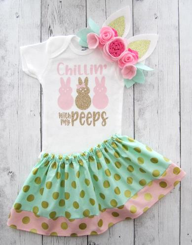 My Peeps Pink and Gold Easter Bodysuit