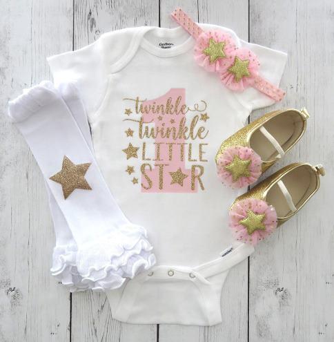 Twinkle Twinkle Little Star First Birthday Outfit Gold Glitter Gold Pink First Birthday Outfit Star Birthday 1st Birthday One Birthday Tutu