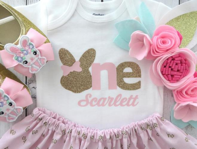 Some Bunny is ONE First Birthday Easter Bodysuit