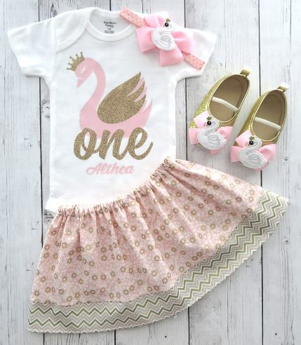 Personalized Swan Pink and Gold First Birthday Outfit