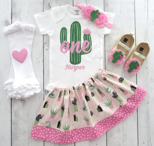 Personalized Cactus First Birthday Outfit