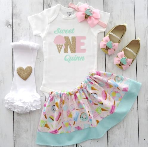 Sweet One Ice Cream Personalized First Birthday Outfit