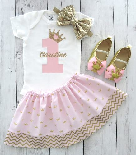 Pink & Gold Princess 1st Birthday Outfit