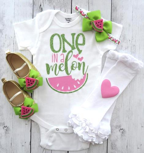 One In a Melon Pink & Green Glitter Bodysuit