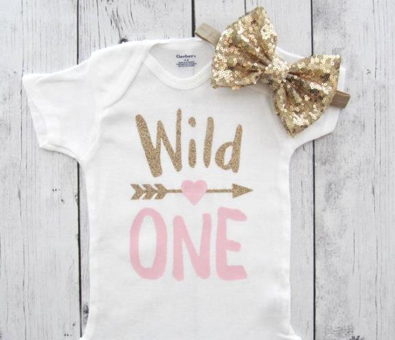 Wild One Birthday Outfit Pink & Gold Glitter Bodysuit
