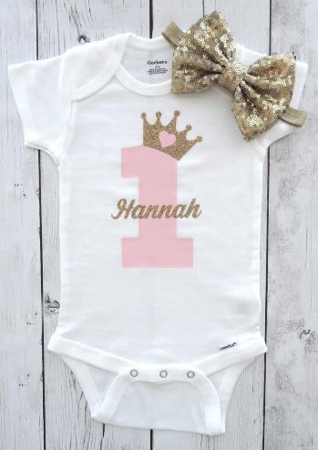 Princess First Birthday Pink & Gold Glitter Bodysuit