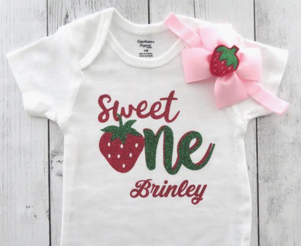 Personalized Sweet One Strawberry First Birthday Bodysuit