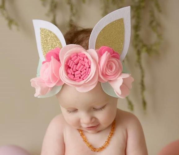 Bunny Ears Floral Crown Headband