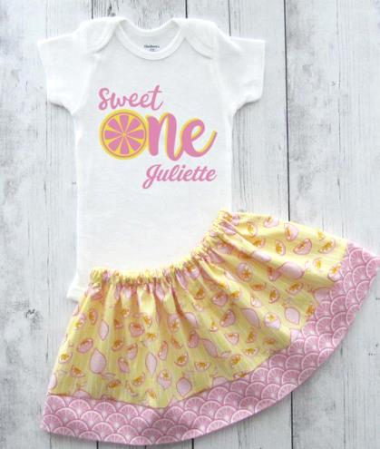 Sweet One Personalized Pink Lemonade First Birthday Outfit